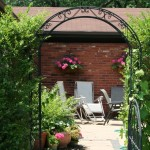 view to patio through grape arbor